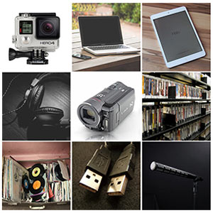 collage of media equipment