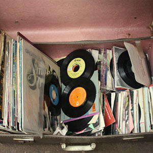 records in suitcase