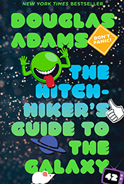 Book Cover of Hitchhiker's Guide to the Galaxy by Douglas Adams'