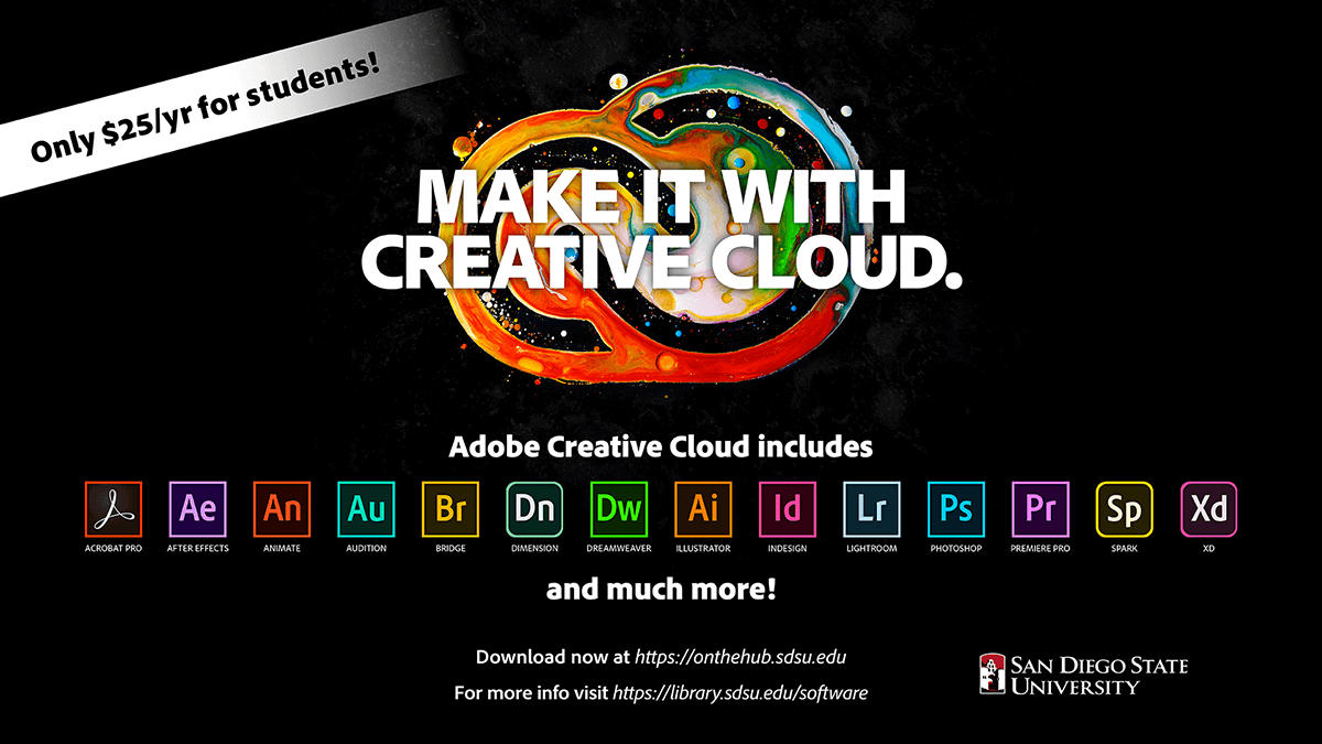 Adobe Creative Cloud subscriptions at $25 per year for SDSU students