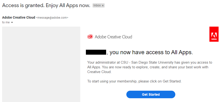 Confirmation email from Adobe