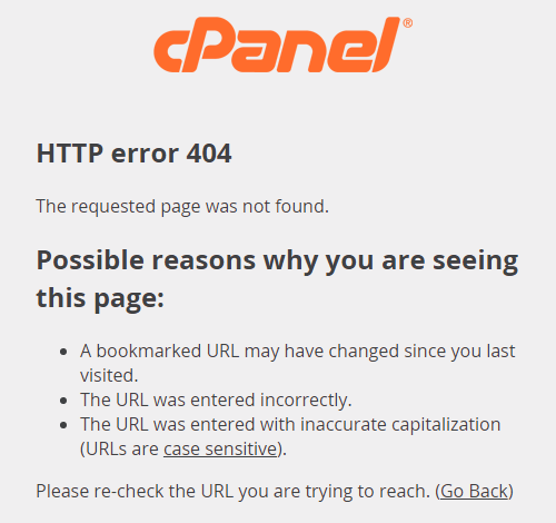 cPanel 404 Invalid Security Token
