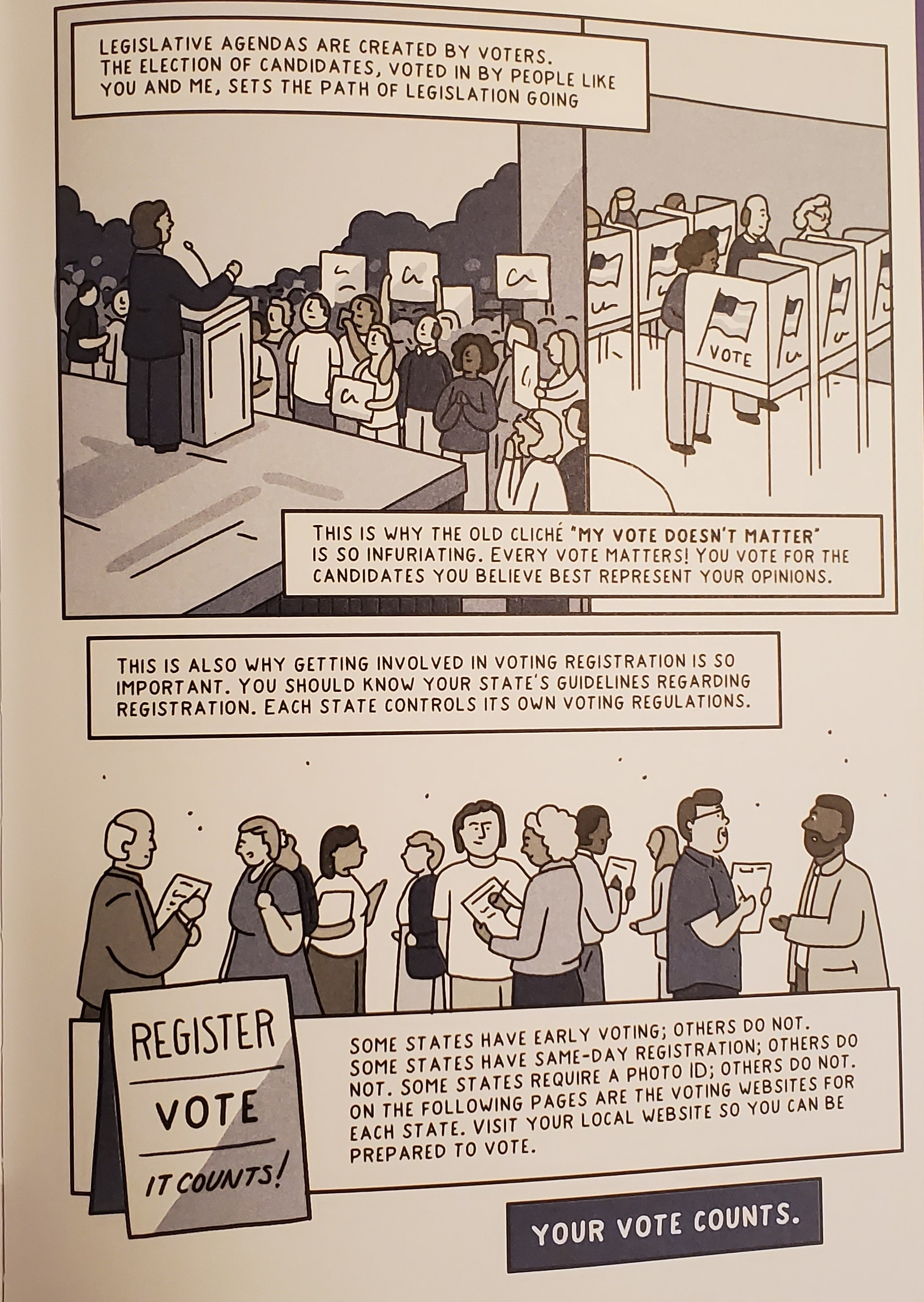 Panel from Drawing the Vote: An Illustrated Guide to Voting in America, that discusses why every vote matters