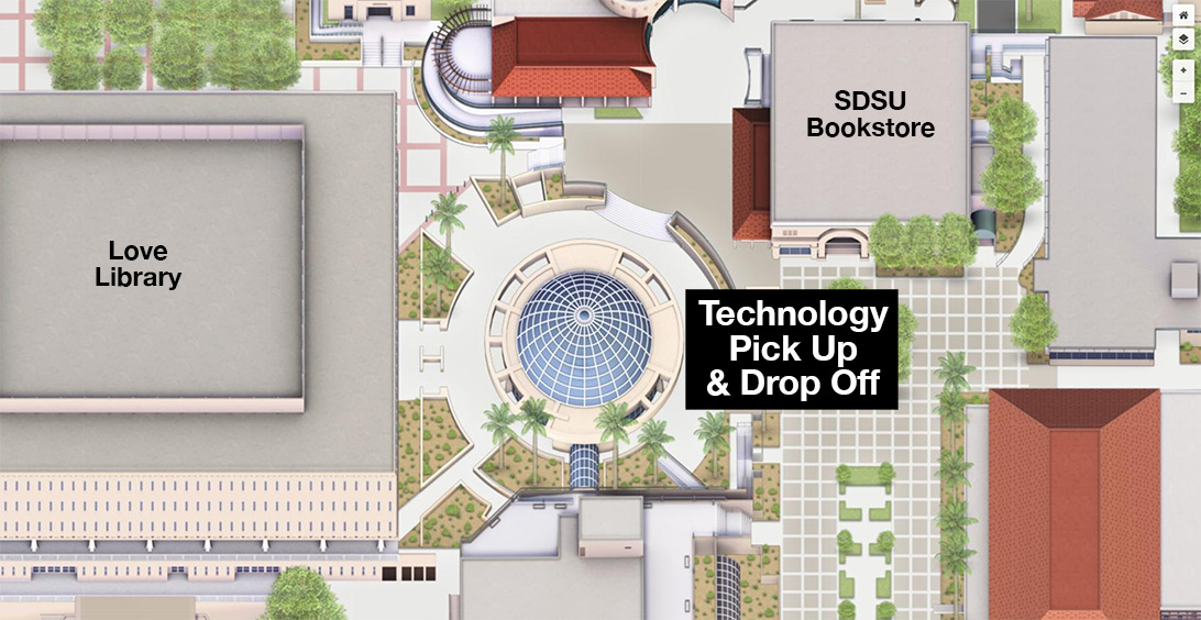 Map of equipment pickup & drop off location at Library Dome