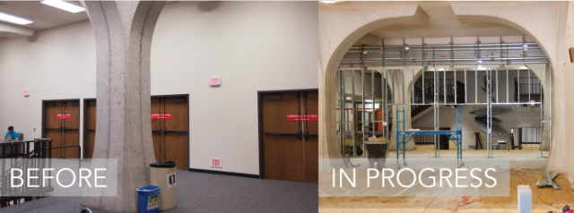 computing center remodel before and in-progress