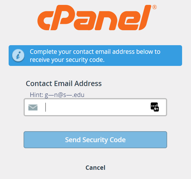 Contact Email Address page