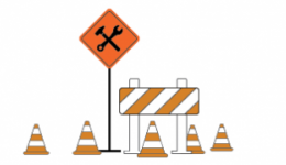 construction cones and signs