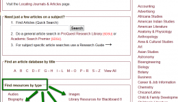 Screen shot of Research Guide by Type Page