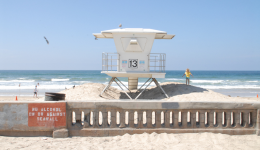Picture of beach and lifeguard tower in San Diego