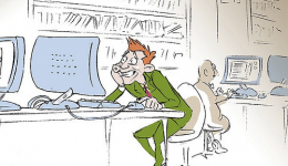 Cartoon of stressed student at computer