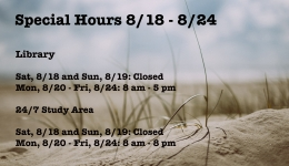 Special Hours 8/18 - 8/24