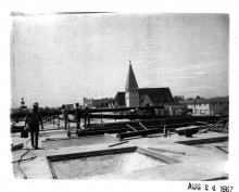 St. Dunstan's church was located behind Aztec Center, here under construction.