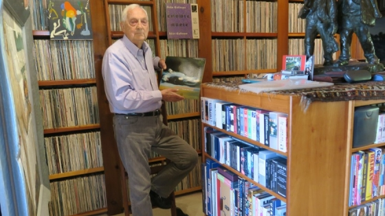 Bram Dijkstra with his recorded sound collection. Photo by Sandy Dijkstra.