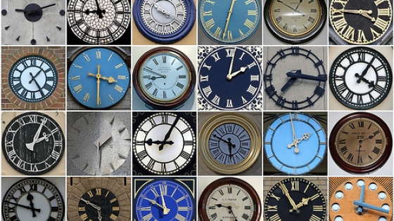 multiple clocks in shades of blue, black, grey and brown
