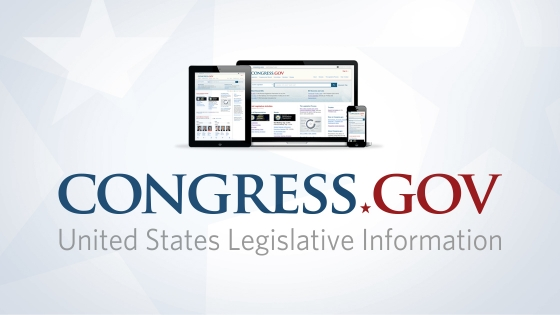 Congress.gov logo displayed on tablet, monitor, phone screens