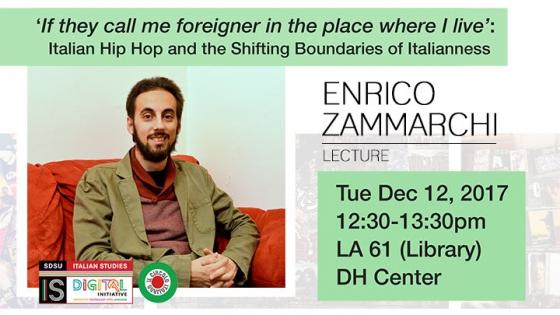 enrico zammarch sitting, lecture at sdsu library