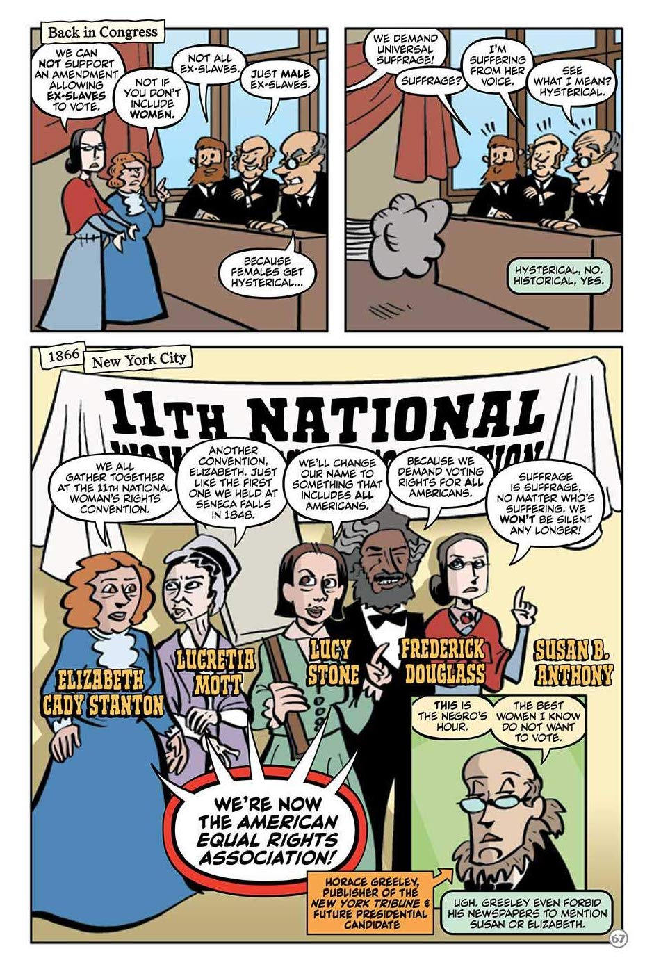 Panel from Susan B. Anthony: Champion for Voting Rights! showing the gathering of the 11th National Women's Rights Convention