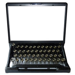typewriter combined with laptop on white