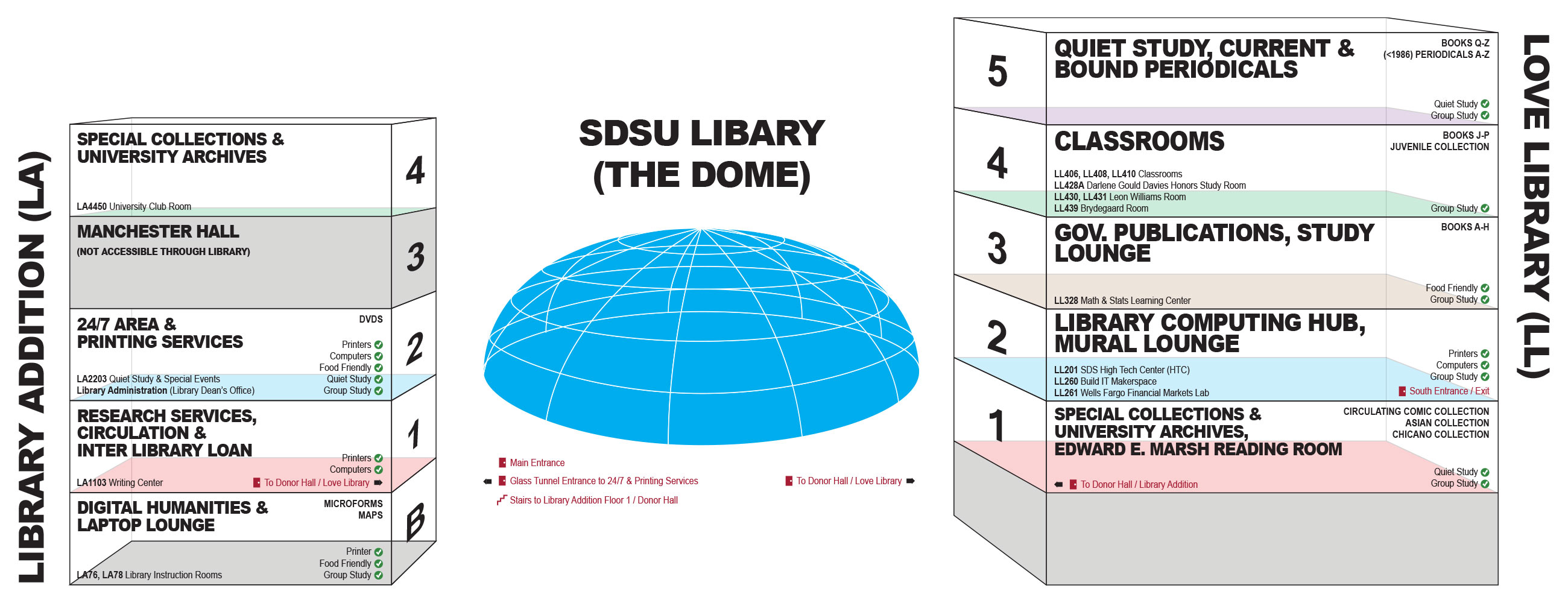sdsu library floor guide
