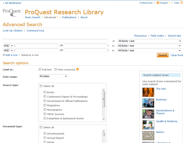 ProQuest Research Library Database Articles