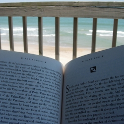 Book on deck overlooking beach