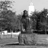Montezuma sculpture with Hardy Tower in the distance