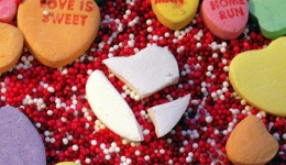 smashed white candy heart