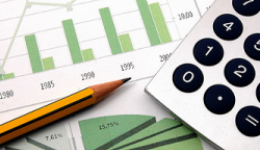 Financial graphs, pencil and calculator