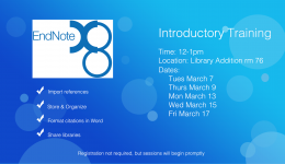 EndNote introductory training