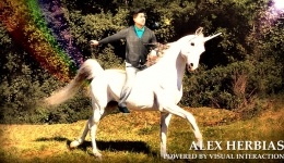alex herbias riding a unicorn with rainbow in forest