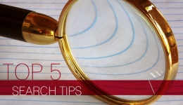 top 5 search tips magnifying glass on paper