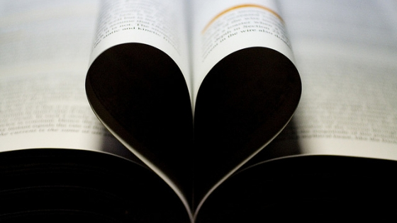 book pages folded to make heart
