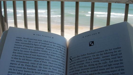 Book on deck overlooking beach