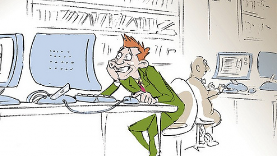 cartoon of man at computer