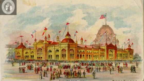 JOHN AND JANE ADAMS TRADE CARD COLLECTION-World's Fair 1893, Mining Building